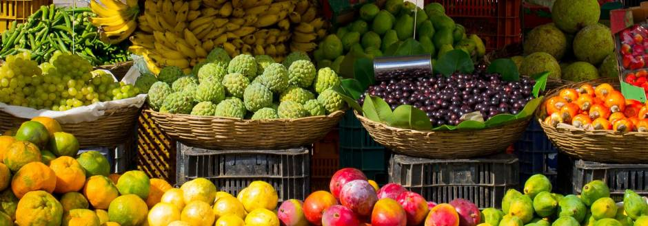 Fruits and Vegetables in baskets