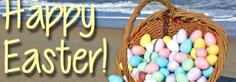 Eggs in a basket on the beach. Happy Easter