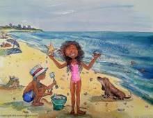 Family on Beach cartoon
