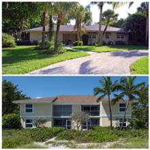 Sanibel Holiday home on the top, Sanibel Holiday condo complex on bottom