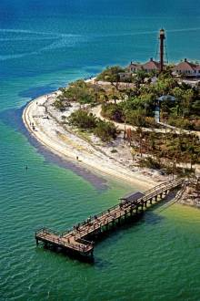 Sanibel Lighthouse Pier Aerial