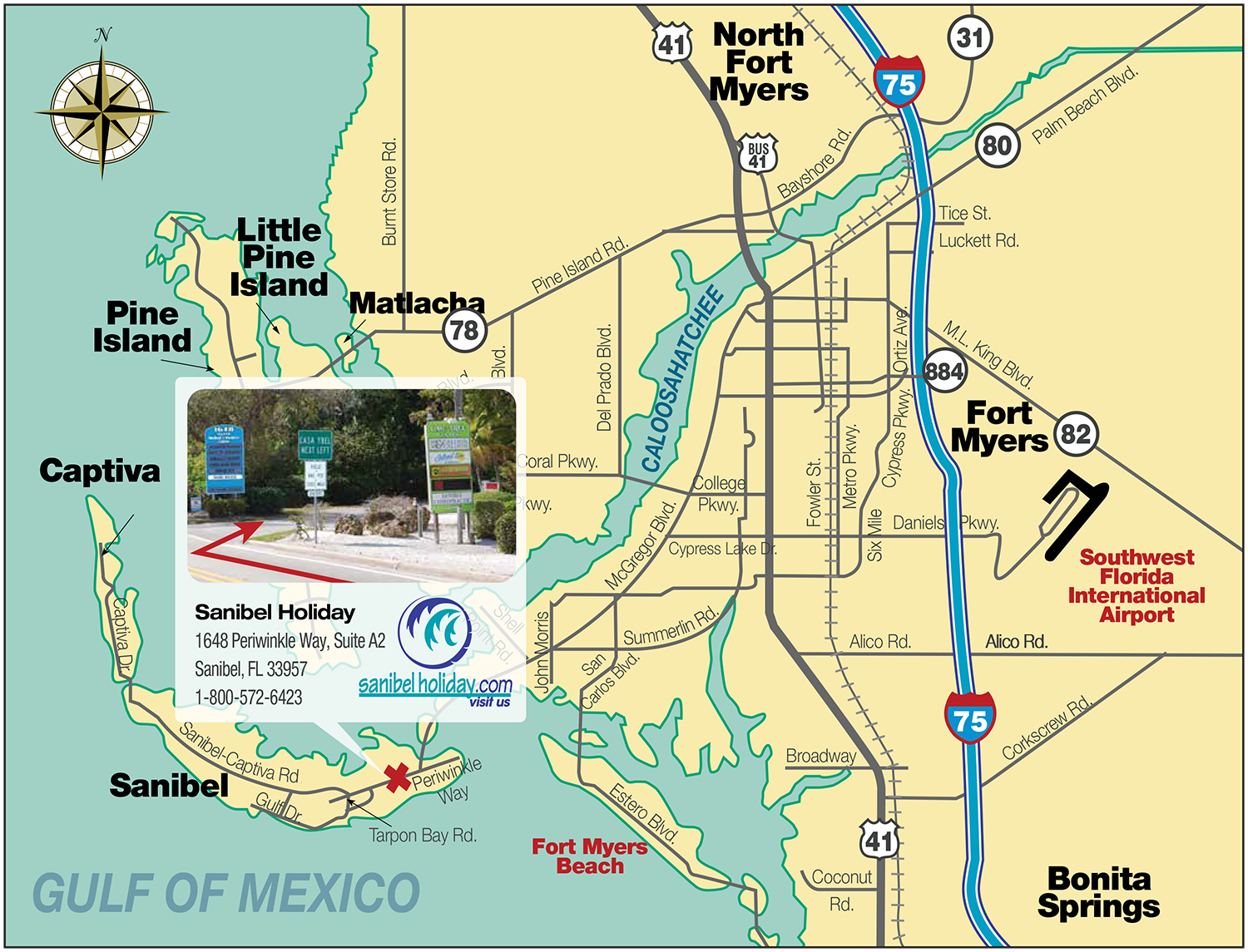 Map to Sanibel Holiday Office